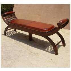 Solid Wood Handcrafted Leather Upholstered Bench