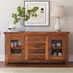 Fremont Solid Wood Glass Door 4 Drawer Rustic Sideboard Cabinet
