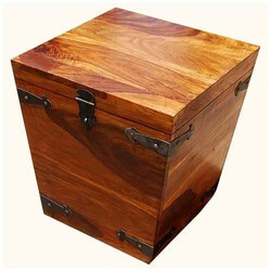 Solid Wood Square Kokanee Storage Trunk Side Coffee Table