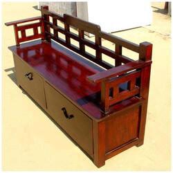 Cherry Wooden Trunk Storage Drawer Box Sofa Long Bench