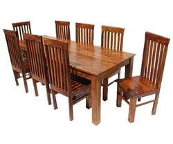 Rustic Classic Lincoln Study Solid Wood Dining Table and Chair Set