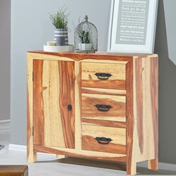 Ostrander Rustic Solid Wood 3 Drawer Sideboard Cabinet