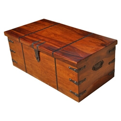 Large Solid Wood with Metal Accents Storage Trunk Coffee Table Chest