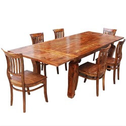 Rustic Lincoln Study Dining Table & 6 Barrel-back Chairs w Extension