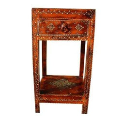 Solano Embossed Handpainted Solid Wood 1 Drawer End Table