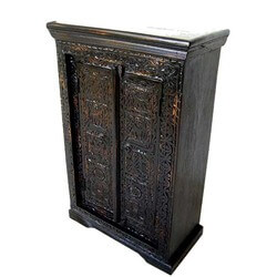 Espresso Hand Carved Wood Shelves Traditional Armoire