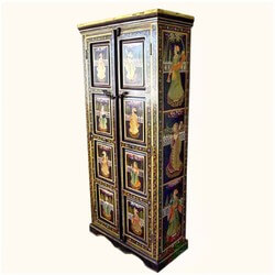 Portage Beautiful Ethnic Solid Wood Hand Painted Armoire