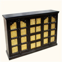 Glenford Golden Brass Inlay Palace Gates Solid Wood Large Sideboard
