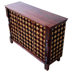 Jenera Solid Wood Brass Inlay Open Home Bar Cabinet With Wine Storage