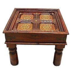 Darbu Solid Wood Handcrafted Brass Work Square End Table
