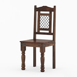Florida Rustic Wood Ethnic Iron Grill Work Dining Chair