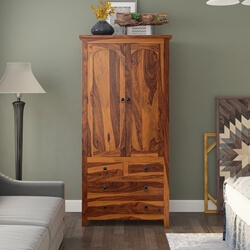 Ellenton Rustic Solid Wood Wardrobe Armoire With Drawers And Shelves