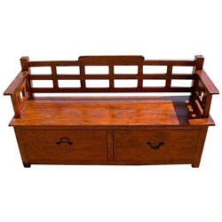 Rustic Wood Storage Drawers Sofa Entry Way Long Bench