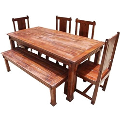 Rustic Solid Wood Santa Cruz Dining Table Set