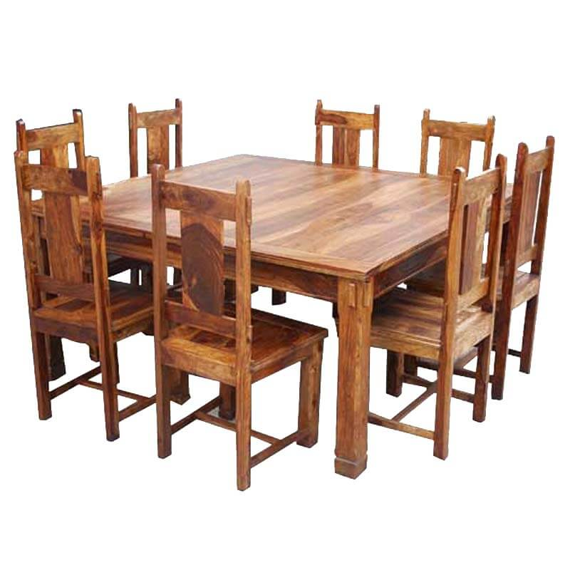 Santa Cruz Rustic Solid Wood Square Dining Table and Chair Set