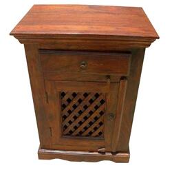 Agdenes Solid Wood Lattice Design Door 1 Drawer Nightstand