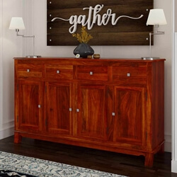Siena Rustic Solid Wood 4 Drawer Large Sideboard Cabinet