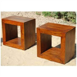 Solid Wood Block Coffee Table Book shelf Bed Side Table Set