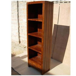 Adelanto 4 Shelf Rustic Solid Wood Tall Narrow Bookcase With Drawers
