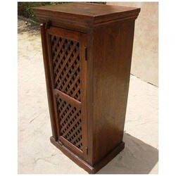 Joutel Rustic Solid Wood Lattice Door Storage Shelves Cabinet