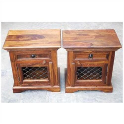 Brule Solid Wood Iron Grill Door Single Drawer Nightstand Set of 2