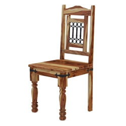 Peoria Solid Wood & Wrought Iron Rustic Kitchen Dining Chair