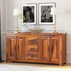 Vermont Classic Rustic Solid Wood 3 Drawer Large Sideboard Cabinet