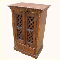 Creola Solid Wood Brass Inlay Lattice Door Single Storage Cabinet