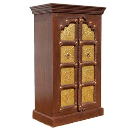 Traditional Brass Accents Door Solid Wood Small Armoire Cabinet
