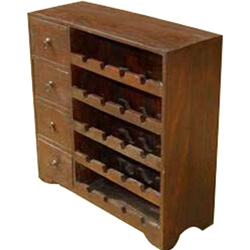 Wood Wine Rack Liquor Storage Drawer Shelves 20 Bottle