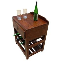 Varela Solid Wood Wine Rack Single Drawer Side Table