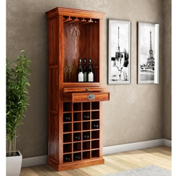 "Lovedale Rustic Mango Wood 72"" Tall Tower Bar Cabinet with Wine Storage"