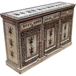 Tribal Black & White Hand Painted Solid Wood 3 Drawer Buffet Cabinet