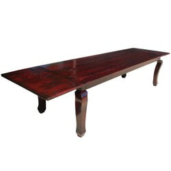 Solid Wood Cabriole Leg Dining Room Table with Extension For 10 People