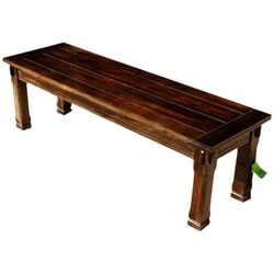 Santa Cruz Mission Unique Solid Wood Dining Bench