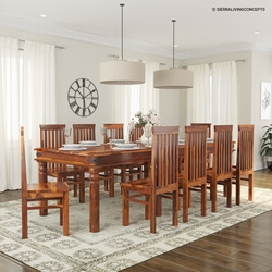 Rustic Lincoln Study Dining Room Table Chair Set