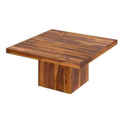Brocton Solid Wood Rustic Block Pedestal Square Dining Table