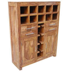 Portland Grand Solid Wood Wine Bar Liquor Storage Cabinet