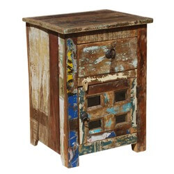 Alvan Distressed Reclaimed Wood 1 Drawer Nightstand