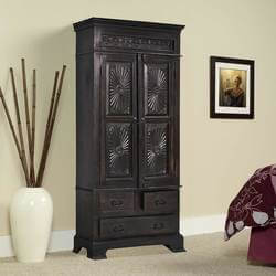 Lincoln Study Traditional Hand Carved Solid Wood Armoire With Drawers