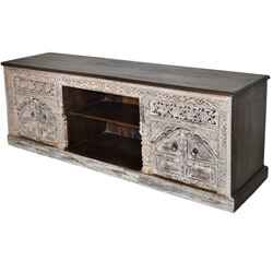 Tropical Hardwood Hand Carved Solid Wood TV Media Stand