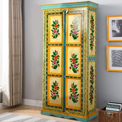 Estero Solid Mango Wood Floral Hand Painted Armoire With Shelves