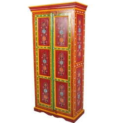 New Delhi Solid Wood Red Floral Hand Painted Armoire Closet