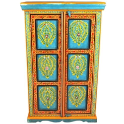 Farmington Solid Mango Wood Floral Hand Painted Small Armoire Cabinet