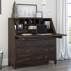 "Philadelphia Solid Wood Handmade 44""Large Drop Front Secretary Desk"