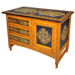 Masterpiece Hand Painted Floral Solid Wood 3 Door Buffet Cabinet