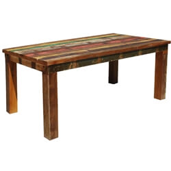 Appalachian Rustic Reclaimed Wood Striped Dining Table