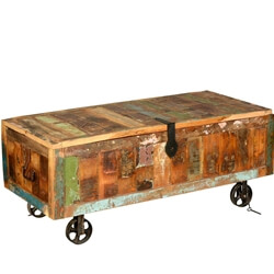 Rustic Reclaimed Wood Appalachian Cart Storage Trunk on Wheels