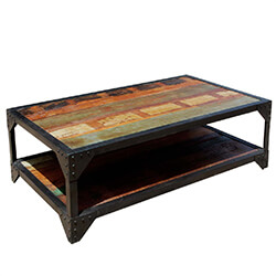 Molino Reclaimed Wood 2 Tier Wrought Iron Industrial Coffee Table