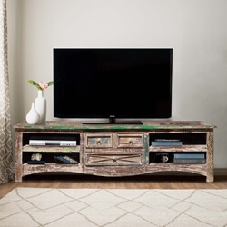 Appalachian Rustic Farmhouse Style Media Console Made of Reclaimed Wood
